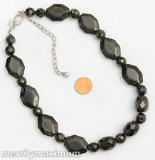 Chico's Signed Necklace Silver Tone Chunky Smooth Faceted Black GLASS Beads