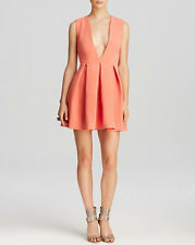 AQ/AQ Aqua By Aqua Vicious Deep Plunge Mini Dress Desert Peach  14 NEW