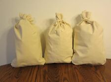 "3 CANVAS COIN BANK DEPOSIT BAGS WITH SEWN-ON TIES 12"" BY 19"" MONEY SACKS BAG"