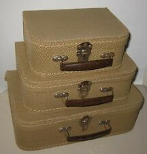 Old Set 3 Miniature Suitcases - Toy Child Luggage w/ Tin Handles Czechoslovakia