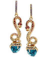 NWT Auth Betsey Johnson 'Betsey Blues' Faceted Stone And Snake Drop Earrings
