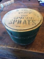 Antique Green Wood Wooden Bucket Pail Spiced Sprats Farm Feed Decor Well Pump