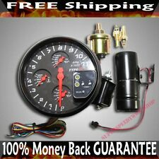 "5"" Black 4 IN 1 Tachometer w/ OT WT OP Tach Shift Light fits Toyota Honda Acura"