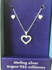 WOW+2 FREE GIFT! 925 Silver And Heart Crystal Claires Necklace Earrings Set Stud