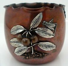 GORHAM AESTHETIC MIXED METALS COPPER STERLING VASE BLUEBERRIES GRASSHOPPER 1882