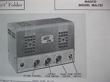 MASCO MA-121 TUBE AMP AMPLIFIER PHOTOFACTS PHOTOFACT