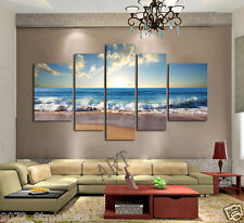 HD Canvas Print home decor wall art painting Blue Wave Beach 5pc(no stretch)