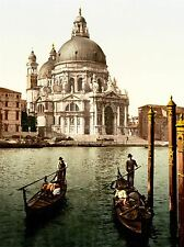 VINTAGE PHOTO COLOUR TINT CHURCH SALUTE VENICE ITALY CANAL GONDOLA PRINT LV4899