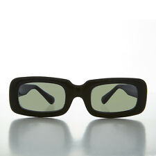 Mod Beatnik Rectangular Rare Vintage Sunglasses NOS Black & Green Lens- YOKO