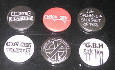 Quality Punk Retro Pin Badge Set Of 6 - GBH, Chron Gen, ANL, Rejects  etc.