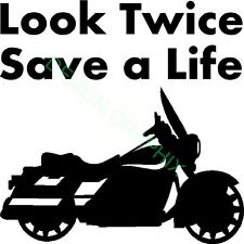 Look Twice Save A Life vinyl decal/sticker motorcycle awareness window car truck