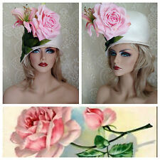 VINTAGE Cloche 60's JACK McCONNELL Millinery ROSE & LILY Ivory *MINT* NOS Hat