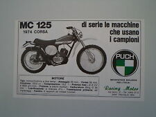 advertising Pubblicità 1974 MOTO PUCH MC 125