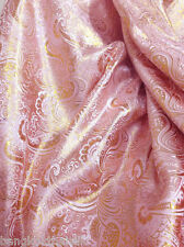 "VIBRANT PINK & GOLD PAISLEY FAUX SILK METALLIC BROCADE 60""W FABRIC WEDDING DRAPE"