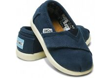 New Toms Kids Unisex Navy Canvas Classics Slip On Elastic Shoes Flats Toddler 4
