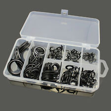 75pc 8 Sizes Fishing Casting Rod Guides Stainless Steel Tips Line Rings Kit