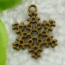 Free Ship 260 pieces bronze plated snowflake charms 23x17mm #1549