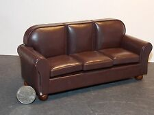 Dollhouse Miniature Faux Leather Sofa SLIGHT WEAR  1:12  one inch scale  H80