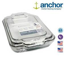 Anchor Hocking 81235OBL11 3 Piece Glass Oven Roasting Dish Tray Set