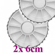 2 x Small Empty White 6cm nail wheel Box display nail art For Gem / Rhinestone