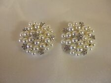 Vintage style pretty faux ivory pearl and rhinestone wedding shoe clips 3 cm