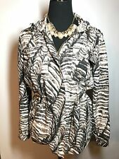 KENNETH COLE Sz 8 Exotic Animal Print 100% Silk Front Zip Light Weight Jacket