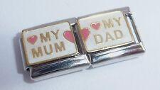 MUM DAD Dbl 9mm Italian Charm Pink Heart I LOVE MY fits Classic Starter Bracelet