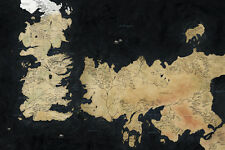 """Game Of Thrones Houses Map Westeros TV Show Fabric Poster 36"""" x 24"""" Decor 35"""