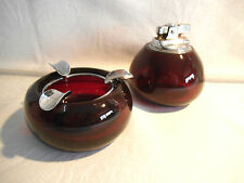 Matching Ruby Glass Table Lighter & Ashtray Set - Vintage Retro c. 1960's