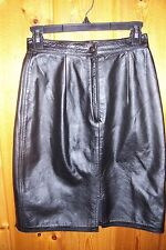 WINLIT WOMENS BLACK LEATHER SKIRT SZ 7/8 FRONT ZIPPER C-MORE MEASUREMENTS EX-CO