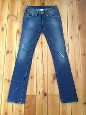 TRUE RELIGION LADIES DISTRESSED BLUE DENIM JEANS W25 L34