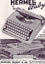PUBLICITE ADVERTISING 034 1958 HERMES BABY machine à écrire Gaspard Trumpy & cie