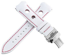 Authentic Tissot 20mm Men's White Leather Watch Band Strap W/ Titanium Buckle