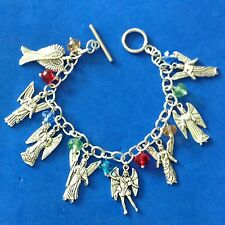 Custom 7 Archangels Charm Bracelet Multi Color Stainless Steel Michael 8.5""