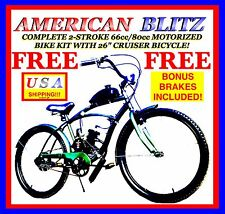 "COMPLETE 2-STROKE 66CC/80CC MOTORIZED BICYCLE KIT WITH 26"" CRUISER BIKE!"
