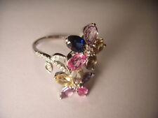 14K White Gold Diamond Multi-Color Gemsotne Movable Floral Flower Band Ring
