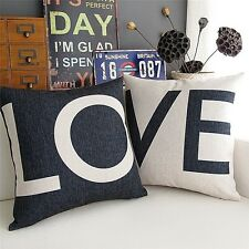 Decorative Cushion Cases Cotton Pillow Covers LOVE Couch Bed Black White Set NEW