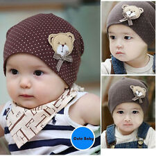 Soft Cotton Cap Lovely Polka Dot Bear Pattern New Born Baby Infant Boy Girl Hat