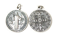Round Silver Metal St Saint Benedict Medal Pendant Charm 11mm 18mm 2mm 32mm 48mm