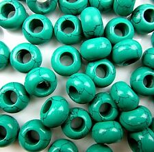 30pcs Beautiful green turquoise large hole beads  DK02B013