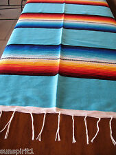 Serape ONWS-Aqua Blanket Table Cover Seat Cover Throw Mexican Design 5' X 7'