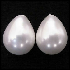 NEW 12x15mm PAIR DROP SHAPE HALF DRILLED SHELL PEARL GEMSTONE EARRINGS