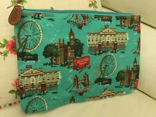 CATH KIDSTON PRINTED LARGE ZIP PURSE LONDON BLUE COSMETIC CASH TRAVEL POUCH BAG