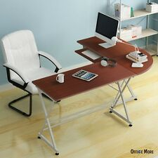 L-Shaped Corner Computer PC Desk Laptop Table Wood Workstation Home Office