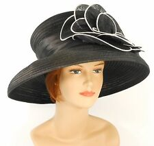 New Church Kentucky Derby Wedding Organza Ascot Dress Hat S10-740 Black