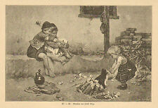 Children, Baby Girl Playing With Puppy, Big Brother, German, Antique Art Print,