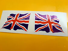UNION JACK UK GB Wavey Flag  Motorcycle Helmet  Car Stickers Decals 2 off 60mm