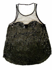 WHISTLES rare sequin noir sweetheart corsage sheer mesh vest party top 6 8 xs