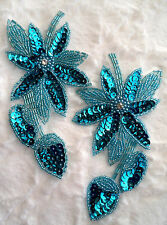 """XR51 Turquoise Floral Mirror Pair Beaded Sequin Appliques Flower Patches 6"""""""