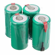 4pcs Sub C SC 1.2V 3000mAh Ni-Cd NiCd Rechargeable Batteries With Tap,Green